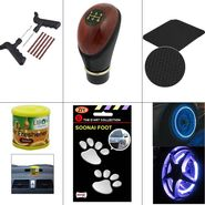 Combo Of Car Non Slip Dash Mat + Car Foot Mark Sticker + Tyre Puncher Kit + Tyre Wheel Light + Gear Handle Knob + Liboni Air Freshner_GS2915