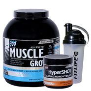 Gxn Advance Muscle Grow, 4 Lb ( 1.18Kgs ) Chocolate + Gxn Hyper Shot 300g