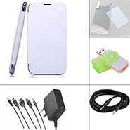 Branded Flip Cover for micromax A116 Canvas HD - White + Screen Guard + Aux Cable + Multi Card Reader + 5 in 1 Travel Charger
