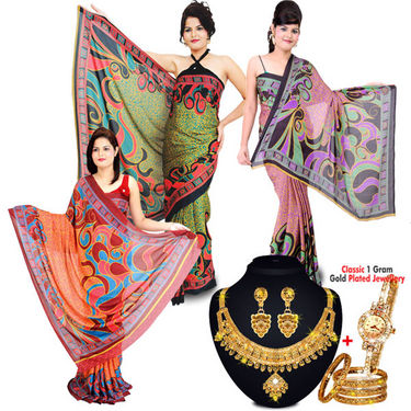 3 Crepe Silk Sarees + Classic Gold Plated Jewellery