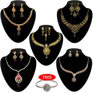Kriaa Combo of 5 Ethnic Jewellery Set With Free Silver Plated Kada