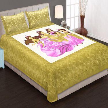 Set of 4 King Size Cotton Jaipuri Sanganeri Printed Bedsheets With 8 Pillow Covers-B4C8