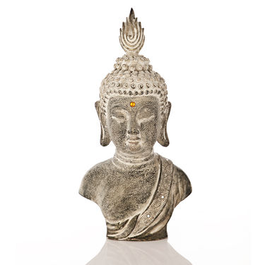 Budha head with feather-1203-07006