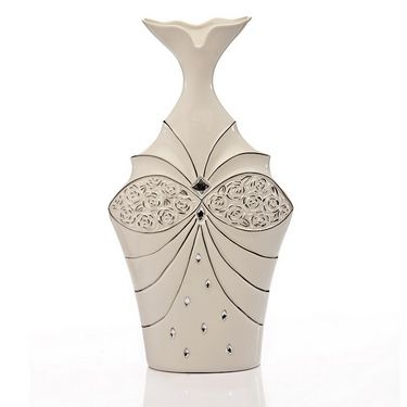 White Ceramic Crystal Vase-1203-07021