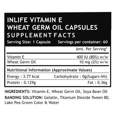 INLIFE Vitamin E With Wheat Germ Oil - 60 Capsules