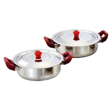 Klassic Vimal 7 Pcs Induction Cookware Set with Handle - Silver & Cherry Red