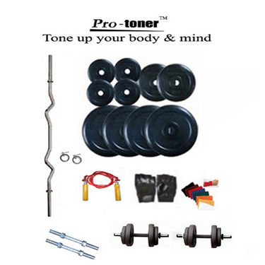 Protoner Weight Lifting Home Gym 30 Kg + 3 Rods (1 Curl) + Gloves + Rope + W. Band