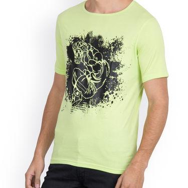 Incynk Half Sleeves Printed Cotton Tshirt For Men_Mht201p - Pista