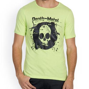 Incynk Half Sleeves Printed Cotton Tshirt For Men_Mht204p - Pista
