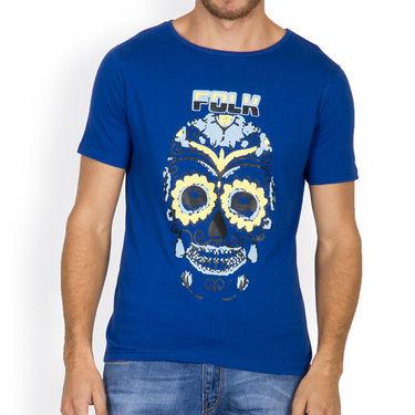 Incynk Half Sleeves Printed Cotton Tshirt For Men_Mht205b - Blue