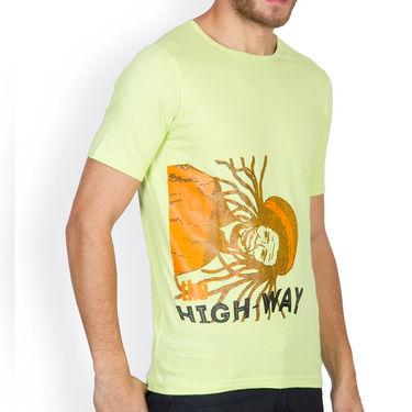 Incynk Half Sleeves Printed Cotton Tshirt For Men_Mht209p - Pista