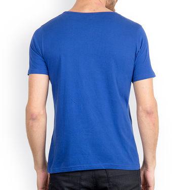Incynk Half Sleeves Printed Cotton Tshirt For Men_Mht214b - Blue