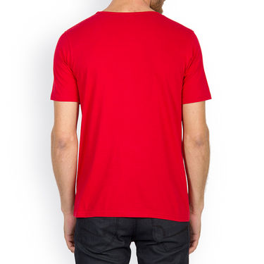 Incynk Half Sleeves Printed Cotton Tshirt For Men_Mht215r - Red