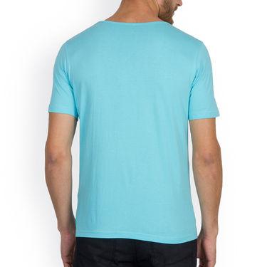 Incynk Half Sleeves Printed Cotton Tshirt For Men_Mht216aq - Aqua