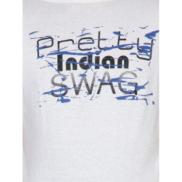 Incynk Half Sleeves Printed Cotton Tshirt For Men_Mht216wht - White