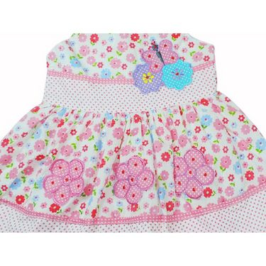Ole Baby Sleeveless Chikankari Embroider Frock with Patch Work_OB-PFRC-422