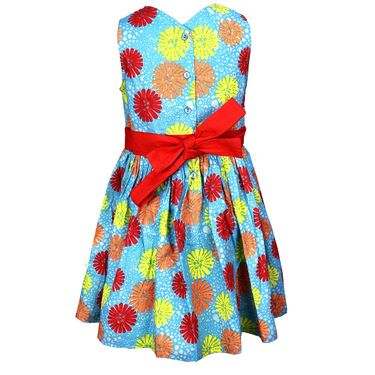 ShopperTree Blue and Red Cambric Print Dress_ST-1420