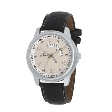 Dezine Round Dial Leather Wrist Watch For Men_1012whtblk - White
