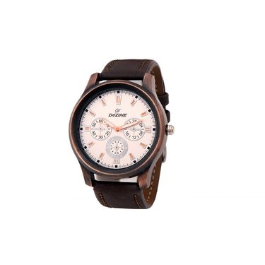 Dezine Round Dial Leather Wrist Watch For Men_0401whtbrw - White