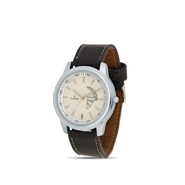 Dezine Round Dial Leather Wrist Watch For Men_1010whtwht - White