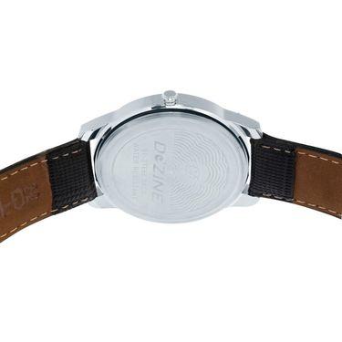 Dezine Round Dial Leather Wrist Watch For Men_1010blkblk - Black