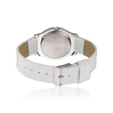 Dezine Round Dial Leather Wrist Watch For Women_2000whtwht - White