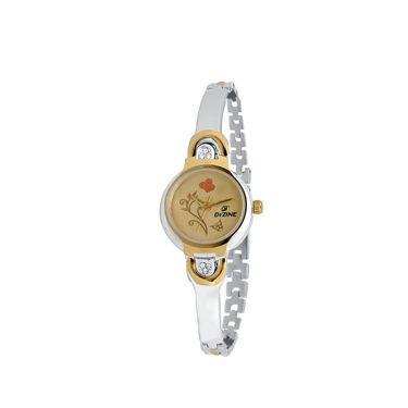 Dezine Round Dial Metal Wrist Watch For Women_3000gldch - Gold