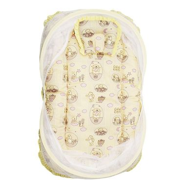 Wonderkids Yellow Teddy Print Baby Bedding Set With Mosquito Net_MW-180-YDBMS