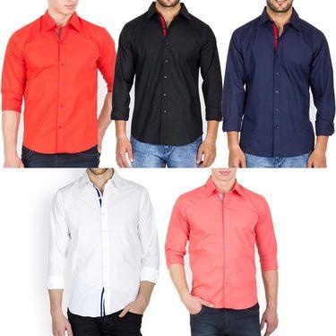 Pack of 5 Incynk Plain Cotton Shirt_qsc61