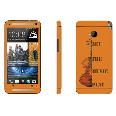Snooky 28286 Digital Print Mobile Skin Sticker For HTC One M7 - Orange