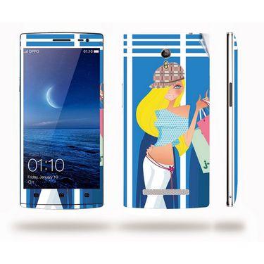 Snooky 39347 Digital Print Mobile Skin Sticker For OPPO Find 7 X9076 - Blue
