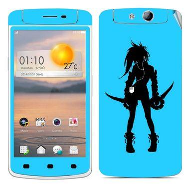 Snooky 39358 Digital Print Mobile Skin Sticker For OPPO N1 Mini - Blue