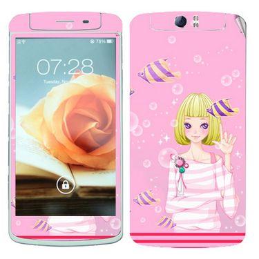 Snooky 39372 Digital Print Mobile Skin Sticker For OPPO N1 - Pink
