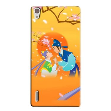 Snooky 38318 Digital Print Hard Back Case Cover For Huawei Ascend P7 - Orange