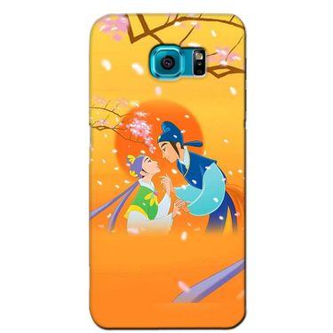 Snooky 36218 Digital Print Hard Back Case Cover For Samsung Galaxy S6 Edge - Orange