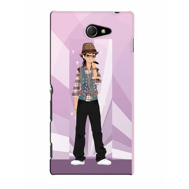 Snooky 37773 Digital Print Hard Back Case Cover For Sony Xperia M2 Dual - Pink