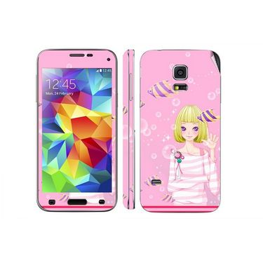 Snooky 39624 Digital Print Mobile Skin Sticker For Samsung Galaxy S5 - Pink