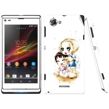 Snooky 39673 Digital Print Mobile Skin Sticker For Sony Xperia L S36h C2105 - White