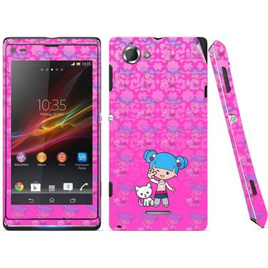 Snooky 39675 Digital Print Mobile Skin Sticker For Sony Xperia L S36h C2105 - Pink