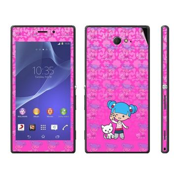 Snooky 39687 Digital Print Mobile Skin Sticker For Sony Xperia M2 Dual - Pink