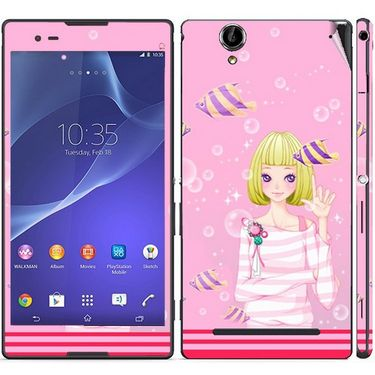 Snooky 39720 Digital Print Mobile Skin Sticker For Sony Xperia T2 Ultra - Pink