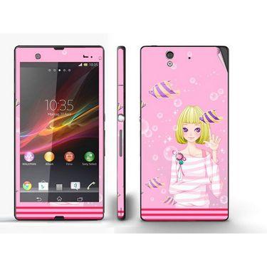 Snooky 39732 Digital Print Mobile Skin Sticker For Sony Xperia Z - Pink