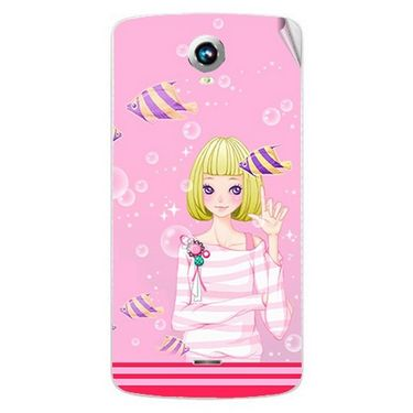Snooky 42004 Digital Print Mobile Skin Sticker For Intex Aqua i6 - Pink