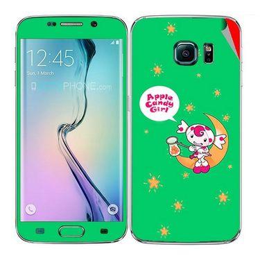 Snooky 48246 Digital Print Mobile Skin Sticker For Samsung Galaxy S6 Edge - Green