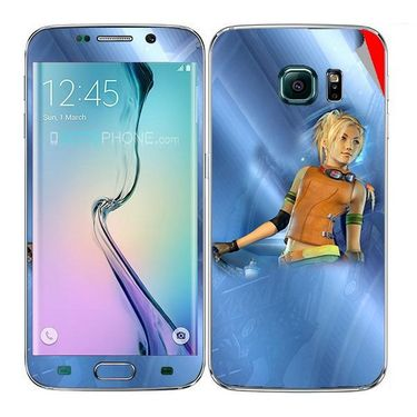 Snooky 48250 Digital Print Mobile Skin Sticker For Samsung Galaxy S6 Edge - Blue