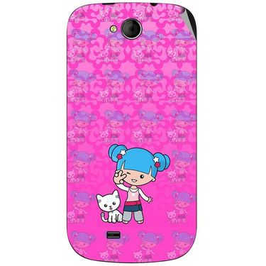 Snooky 42517 Digital Print Mobile Skin Sticker For Micromax Canvas Elanza A93 - Pink