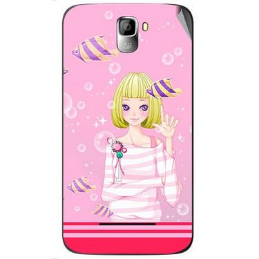Snooky 42587 Digital Print Mobile Skin Sticker For Micromax Canvas Entice A105 - Pink