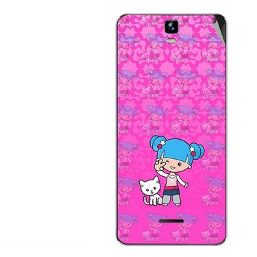 Snooky 42704 Digital Print Mobile Skin Sticker For Micromax Canvas HD Plus A190 - Pink