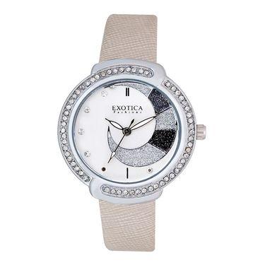 Exotica Fashions Analog Round Dial Watch For Women_Efl27w53 - White & Silver