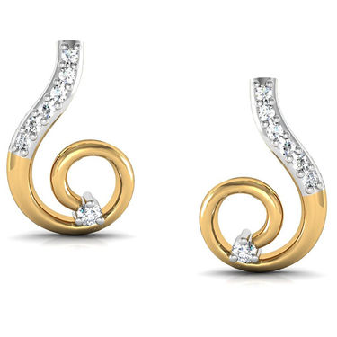Avsar Real Gold and Swarovski Stone Karina Earrings_Bge036wb